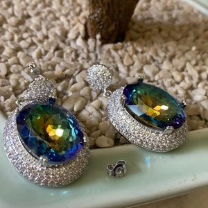 Vintage 925 mystic topaz  and CZ earring